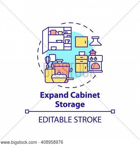 Expand Cabinet Storage Concept Icon. Amping Up And Using Cabinet Space Idea Thin Line Illustration.