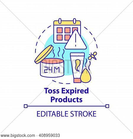 Toss Expired Products Concept Icon. Cleaning Bathroom From Unnecessary And Expired Funds Idea Thin L