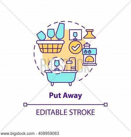 Put Away Concept Icon. Using Container For Items Idea Thin Line Illustration. Proper Storage Space.