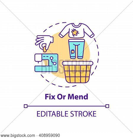 Fix Or Mend Concept Icon. Using Container For Shoes Need To Be Cleaned Idea Thin Line Illustration.