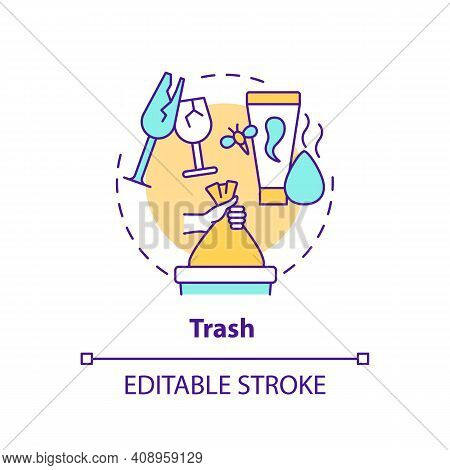 Trash Concept Icon. Throwing Things Up Idea Thin Line Illustration. Sorting And Tossing Things In Ho