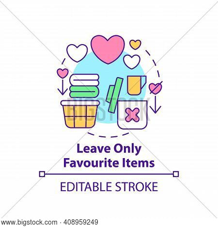 Leave Only Favourite Items Concept Icon. Sorting Necessary Things And Junk Idea Thin Line Illustrati