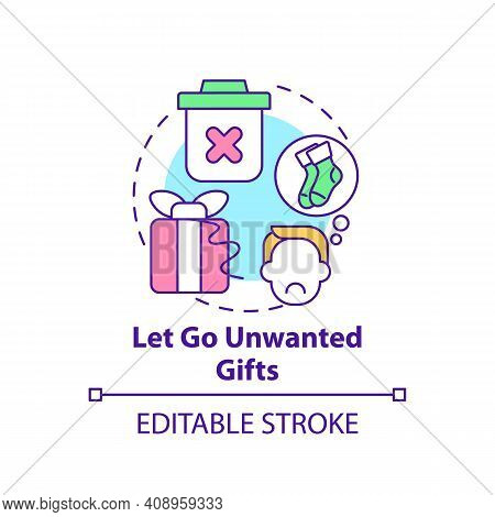 Let Go Unwanted Gifts Concept Icon. Declutter And Minimize Trash In House Idea Thin Line Illustratio