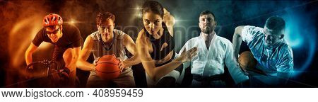 Sport collage. Judo, cycling, running, rugby, basketball and boxing players. Fit woman and men standing on black background