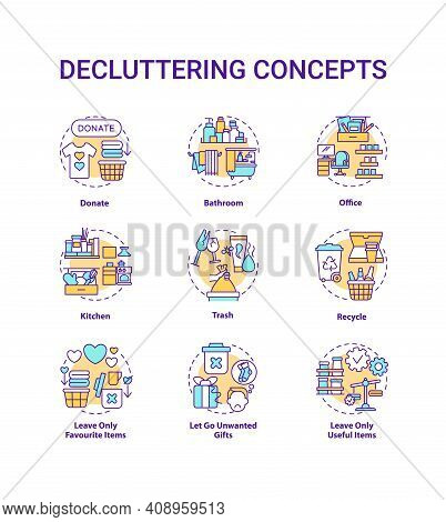Decluttering Concept Icons Set. Donate And Recycle Idea Thin Line Rgb Color Illustrations. House And