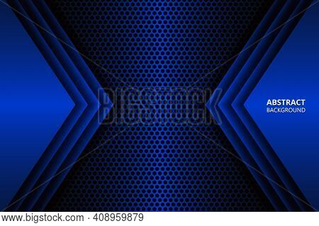 Futuristic Abstract Dark Blue Background With Carbon Fiber Mesh. Modern Sports Gaming Banner. Blue G