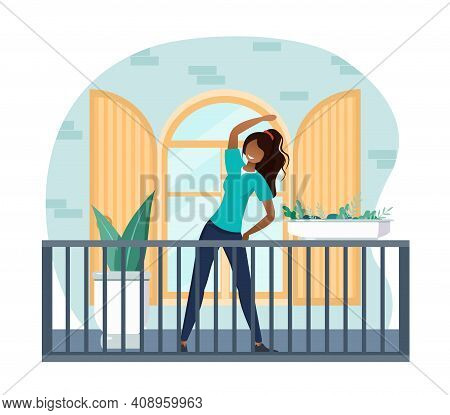Young Female Character In Yoga Pose On The Balcony. Woman Is Exercising On The Balcony Of Her House.