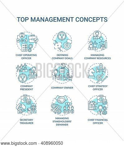 Top Management Concept Icons Set. Managing Stakeholders Demands. Chief Executive Manager Position. C