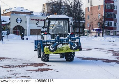 City Park, Balashikha, Russia - February 19, 2021. Mechanized Cleaning Of Fallen Snow With The Help