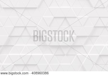 Abstract Monochrome White Geometric Pattern Or Background Made Of Chaotic Triangle Surface Polygons.