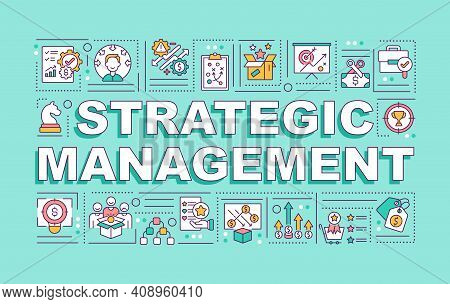 Strategic Management Word Concepts Banner. Operating Of Organization. Board Of Directors. Infographi