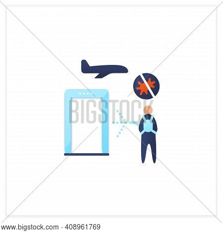 Sanitization Airport Flat Icon. Disease Prevention. Biosafety Worker Disinfect Airport. Mandatory Pr