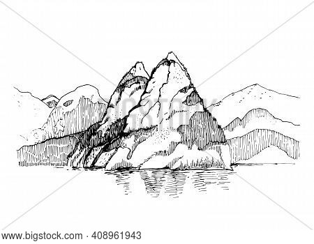 Mountain Landscape Sketch Illustration.engraved Hand Drawn Ilustration With Mountain, Forest On It A