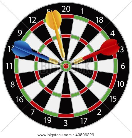 Dartboard with Darts on Bullseye Illustration Isolated on White Background poster