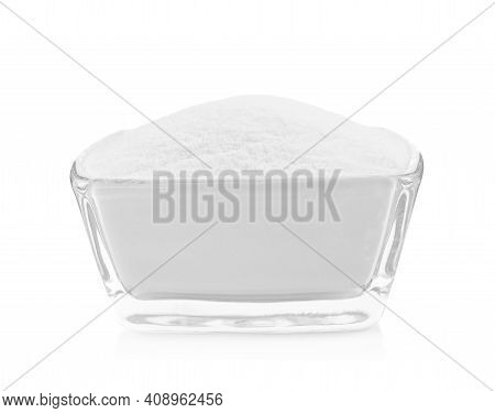 Glass Bowl With Baking Soda Isolated On White