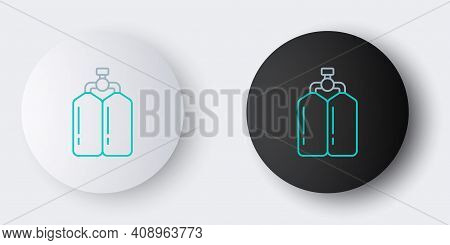 Line Aqualung Icon Isolated On Grey Background. Oxygen Tank For Diver. Diving Equipment. Extreme Spo