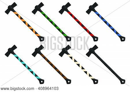 Illustration On Theme Big Kit Steel Axes With Wooden Handle, Metal Ax For Hunting. Pattern Ax Consis