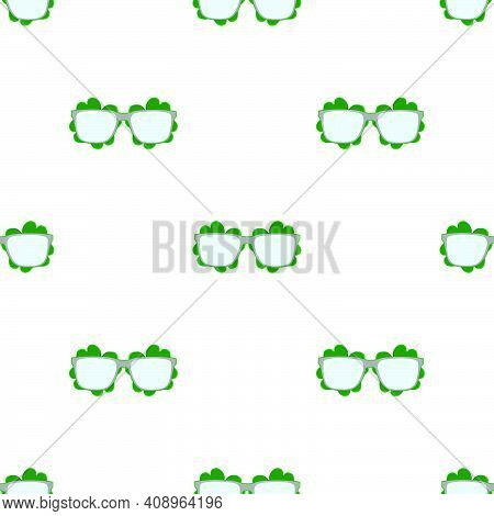 Illustration On Theme Irish Holiday St Patrick Day, Seamless Eyeglasses. Pattern St Patrick Day Cons