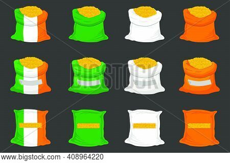 Irish Holiday St Patrick Day, Big Set Color Bags Of Coins. Pattern St Patrick Day Consisting From Ma