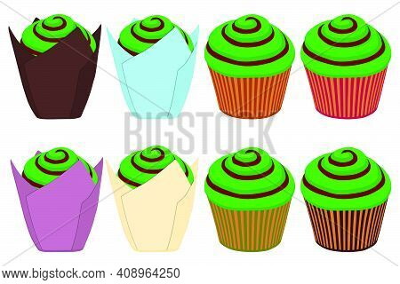 Illustration On Theme Irish Holiday St Patrick Day, Big Set Green Muffins. Pattern St Patrick Day Co