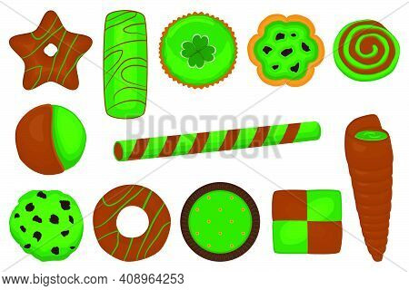 Illustration On Theme Irish Holiday St Patrick Day, Big Set Green Cookies. Pattern St Patrick Day Co