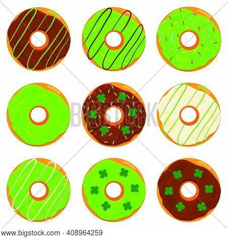 Illustration On Theme Irish Holiday St Patrick Day, Big Set Doughnuts. Pattern St Patrick Day Consis