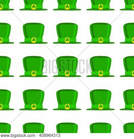 Illustration On Theme Irish Holiday St Patrick Day, Seamless Headdress Hats. Pattern St Patrick Day