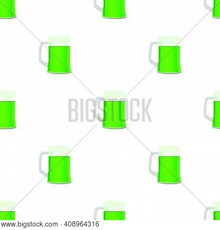 Illustration Irish Holiday St Patrick Day, Seamless Color Beer In Mug. Pattern St Patrick Day Consis