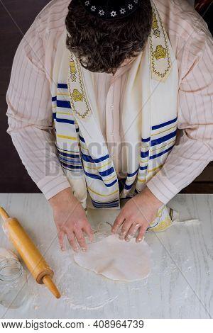 Orthodox Jewish Man Prepare Hand Made Flat Kosher Matzah For Baking