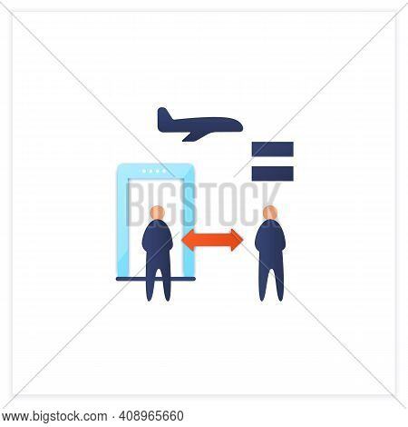 Distance Between Checkpoints Flat Icon. Safe Distance For Passengers. Protection Against Viruses. Ai