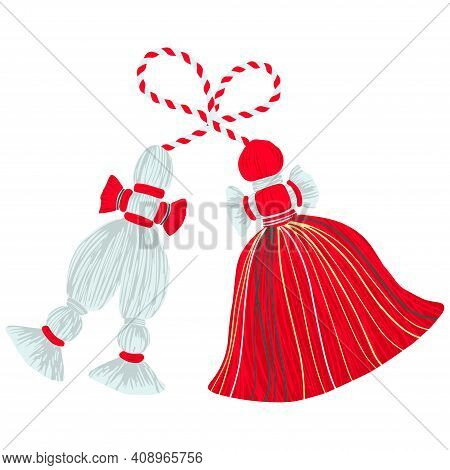 Bulgarian Traditional Martenitsa Dolls Red And White Design