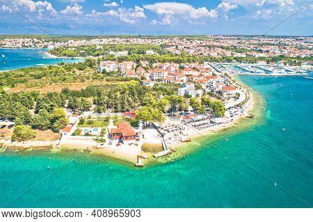 Zadar. Puntamika Beach In Zadar Aerial Panoramic View, Dalmatia Region Of Croatia