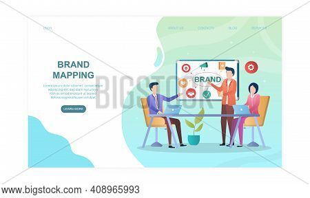 Male And Female Characters In Conference Room Brand Mapping. Concept Of Building Company Brand Perce