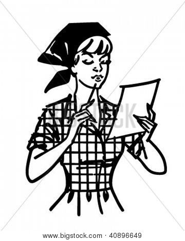 Frau Check-Liste - Retro Clipart Illustration