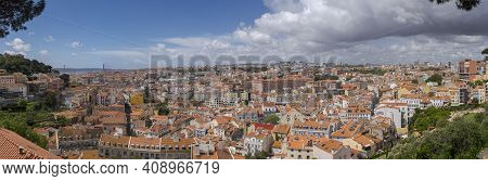 Lisbon, Portugal - April 18, 2019: Panoramic Views Of The City Of Lisbon From De Graca Outlook