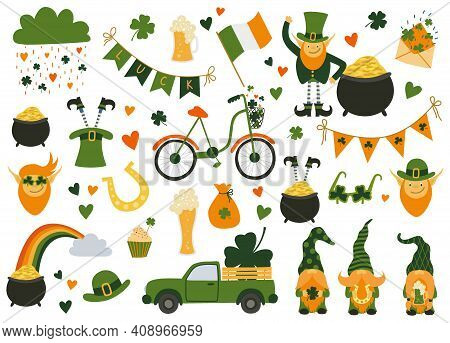 Saint Patrick's Day Collection. Set With Irish Flags, Beer Mugs, Clover, Pub Decoration, Leprechaun