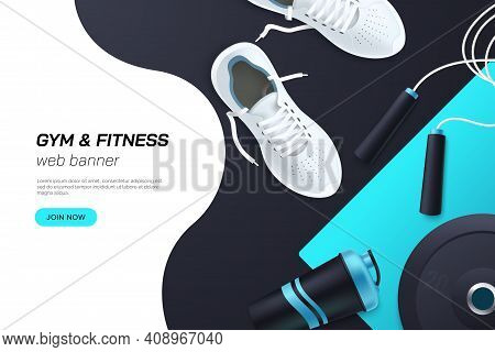 Web Page Concept For Gym And Fitness Club. Flat Lay Composition With White Sports Sneakers, Barbell