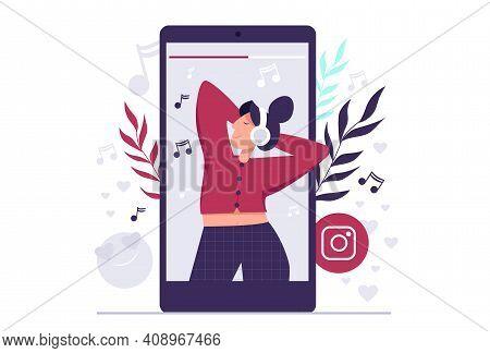 Instagram Video Streaming Concept Illustration. Smartphone Chat App. Messenger Sticker. Live Stream