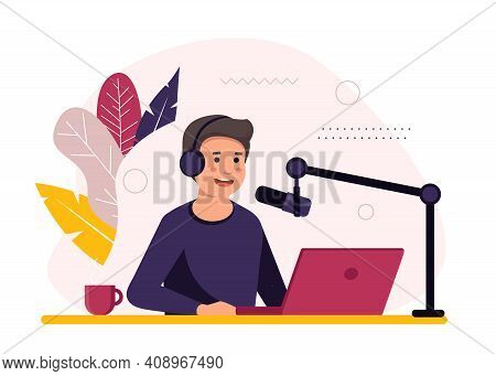 Podcast Concept Illustration. Male Podcaster Talking To Microphone Recording Podcast In Studio. Conc