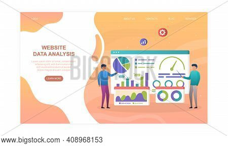 Male Characters Are Analysing Website Data On Graphs And Charts. Concept Of Web Page Data Analysis.