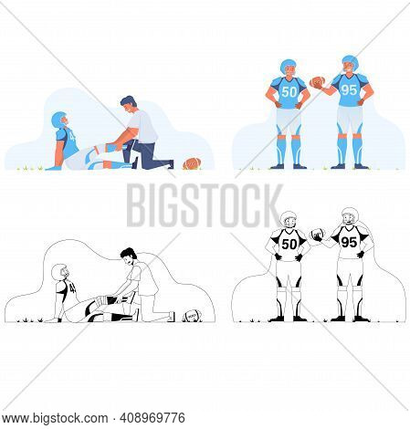 Flat And Black And White Illustration American Football On White Background. Flat Illustration Fatal