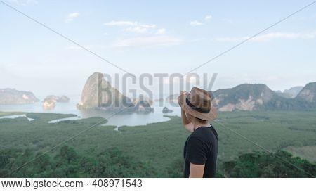 Samed Nang Chee. Man With View Of The Phang Nga Bay, Mangrove Tree Forest And Hills At Andaman Sea,