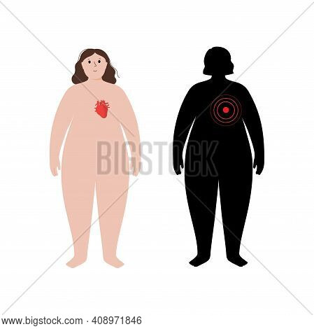 Pain, Inflammation In Heart. Adult Obese Woman Anatomy Poster. Ache In Overweight Female Human Body.
