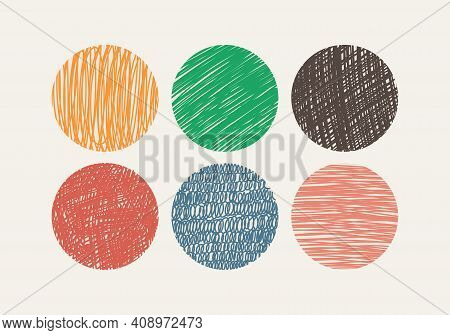 Round Background Covers For Social Network. Shaded Circles. Vector Doodle Multicolor Illustration.