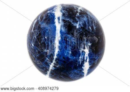 Macro Mineral Stone Sodalite Ball On White Background