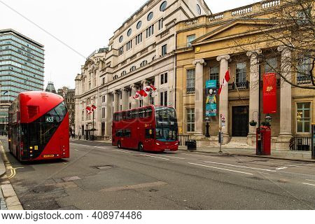 London Uk January 2021 Canadian Embassy Building In The Center Of London City, Canadian Flags With T