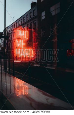 London Uk January 2021 Pho Me Hard Neon Sign In The Center Of London, Advertising A Chinese Noodle L