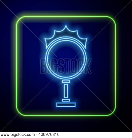 Glowing Neon Circus Fire Hoop Icon Isolated On Blue Background. Ring Of Fire Flame. Round Fiery Fram