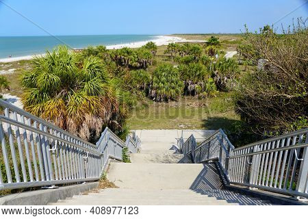 The View Of The Walkway On The Top Rampart Near Fort Desoto Park, St Petersburg, Florida, U.s