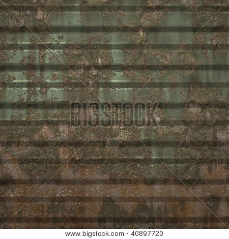 Rusty Metal Sheet With Cracked Green Paint